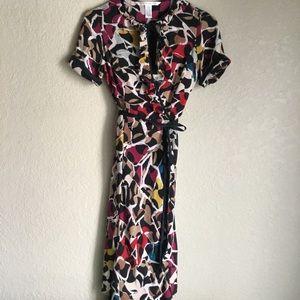 Diane von Furstenberg Silk Mosaic Wrap Dress 4 S